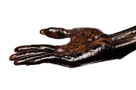Dirty hand - palm up isolated on white background Zdjęcie Seryjne - 26049717