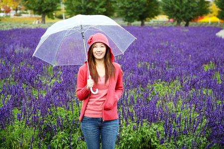 Woman with Umbrella at Tomita Lavender Farm, Hokkaido
