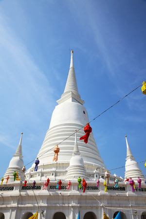 White Pagoda at Wat Prayoon in Bangkok, Cultural Heritage Conservation Award of Excellence by Unesco Zdjęcie Seryjne - 35066506