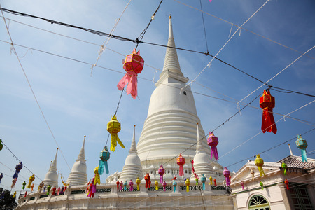 White Pagoda at Wat Prayoon in Bangkok, Cultural Heritage Conservation Award of Excellence by Unesco Zdjęcie Seryjne - 35079836