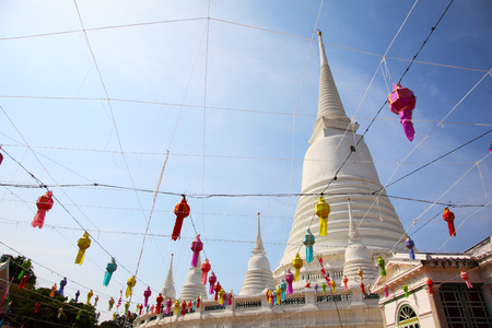 White Pagoda at Wat Prayoon in Bangkok, Cultural Heritage Conservation Award of Excellence by Unesco Zdjęcie Seryjne - 35066407