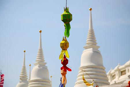 Colorful Lanterns on White Pagoda Background