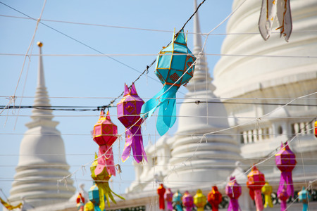 Colorful Lanterns on White Pagoda Background Zdjęcie Seryjne - 35067904