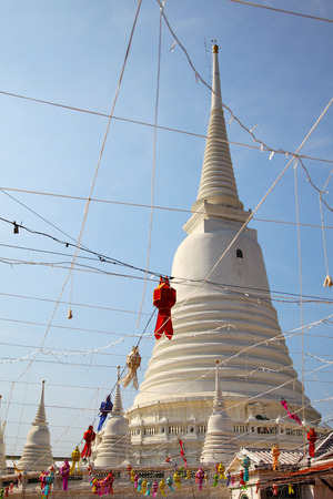 White Pagoda at Wat Prayoon in Bangkok, Cultural Heritage Conservation Award of Excellence by Unesco Zdjęcie Seryjne - 35067867