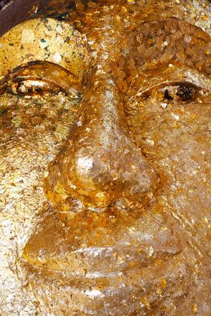 Golden Gilded Buddha Face Zdjęcie Seryjne