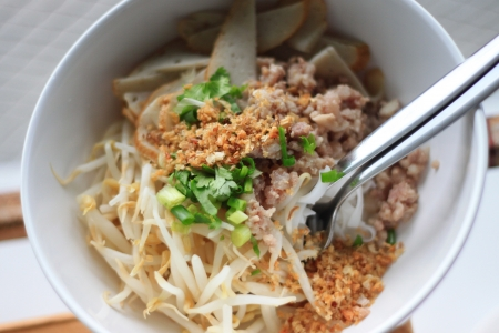 The Food of Thai Noodles in dish. photo