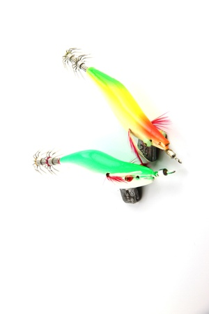 Focus Two the Lure is Squid fishing on white Background. Stock Photo