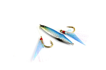 Focus The Jiging Lure for fishing on white Background. photo