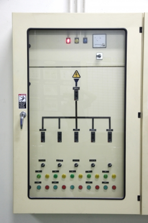 The Electrical energy control cabinet in Industrial factory. Stock Photo