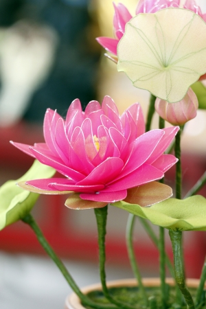 The Pink lotus handmade the Colorful. photo