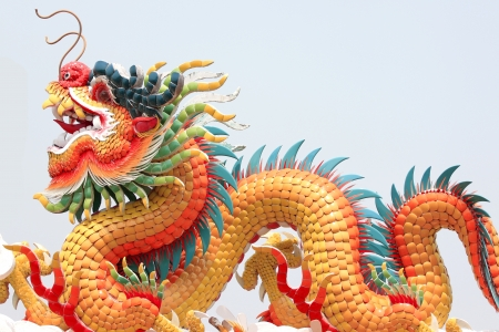 Chinese dragon statue in a temple,Chinese sculpture in Thailand. Stock Photo - 18947281