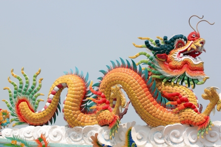 godliness: Chinese dragon statue in a temple,Chinese sculpture in Thailand.