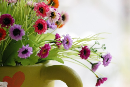 Flowers in a vase and Colorful Flowers. photo