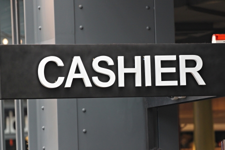 signposted: Signposted of the cashier