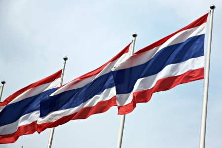 The Flag of Thailand hit by strong wind The Flag Include is red,white and blue colors