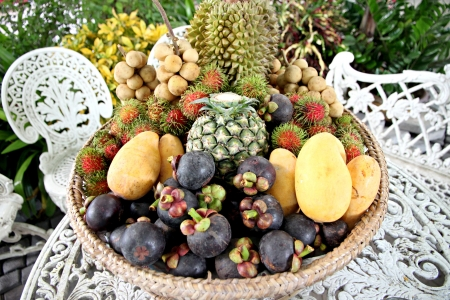 The Many of fruits in the basket is fruits Domestic in Thailand. photo