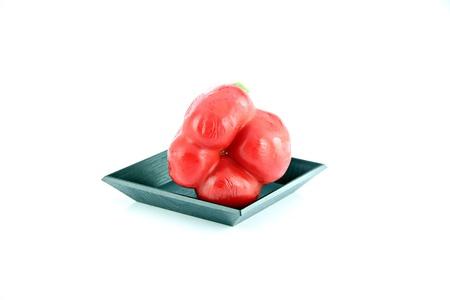 黒い皿および甘いコショウ赤ピーマンは、栄養価の高いです。