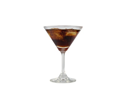 The Cola in glass on white background