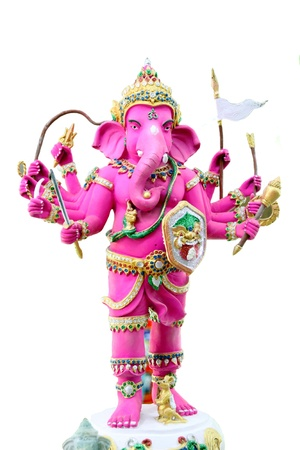 blessings: The Pink Ganesh Statue in the temple on white backgeound