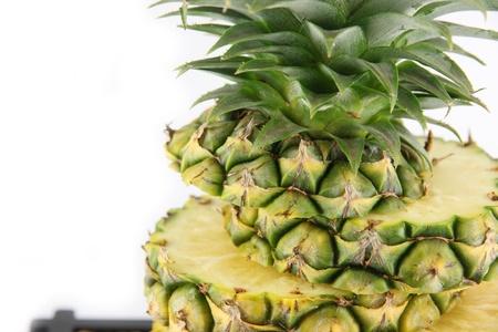 agri: Closeup Pineapple on white background. Stock Photo