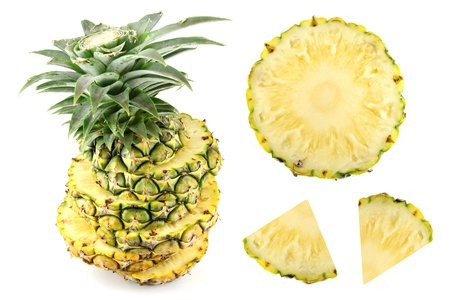agri: Pineapple Slice on white background and  Pineapple placed be side.