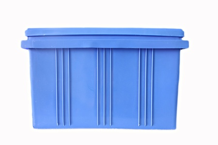 Blue Plastic box Packaging of finished goods on white background. photo