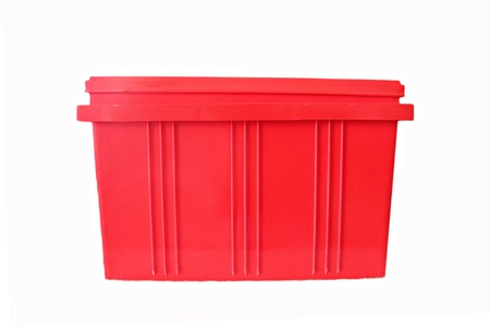 housewares: Red Plastic box Packaging of finished goods on white background.