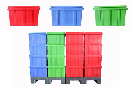 Mix color Plastic box Packaging of finished goods on white background. Stock Photo