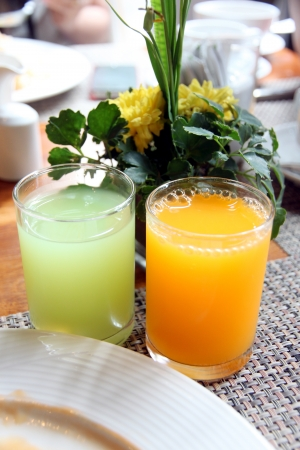 The Fruit JJuice in glass Near the white dish. photo