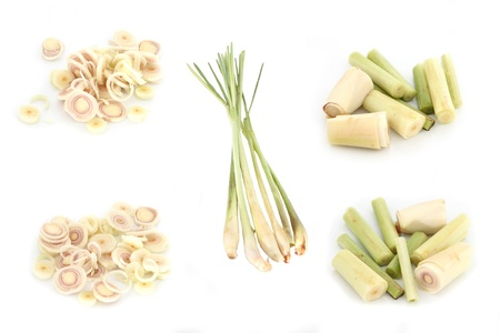 standalone: Closeup Fresh Lemon Grass and cut into small pieces on white background  Stock Photo