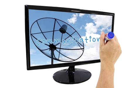 Hand writing Communication text in Frame LED computer Satellite dish screen. Stock Photo - 21878418