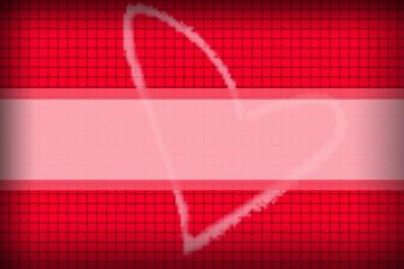 Le fond rouge dans un concaténation de style de boîte et de coeur Photo