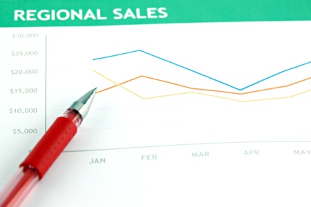 proceedings: Picture focus the Red pen on the business graph  Stock Photo
