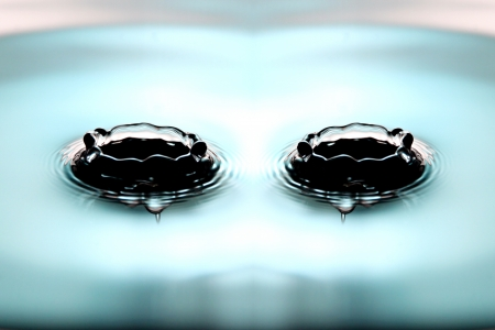 Closeup Pictures Blue Background of Two Water drops a beautiful shape in Basin. photo
