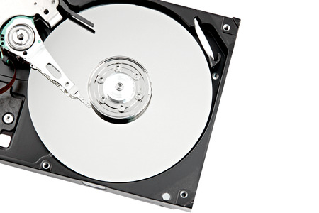 diskdrive: Hard drive to store data place to the left on white background.