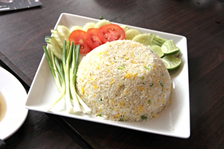admixture: The Picture focus Fried rice in white dish on the Foods table. Stock Photo