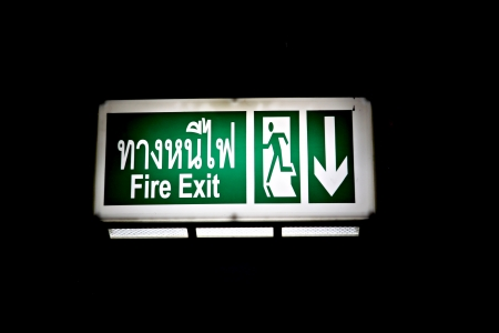 Fire exit signs on black background. photo