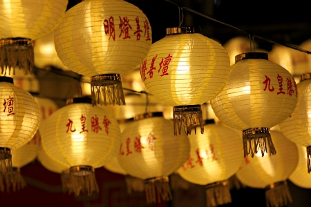 The yellow Chinese lanterns on Vegetarian Festival Kippur. photo