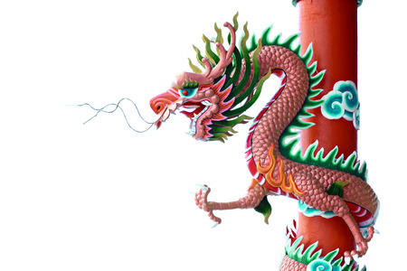 Pink color of Dragon statue on pillars on white background  photo