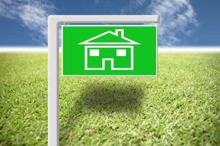 beneficial: Green label with home picture on grass and blue sky,Empty space that is not beneficial over time.