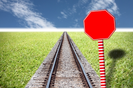 Have picture Ideas in Railway traffic on the lawn and red Traffic signs,You can enter text into it  photo