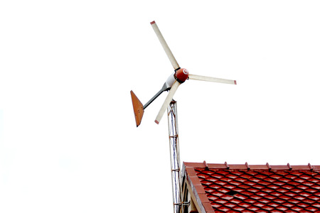 Turbine stuck on roof of house.