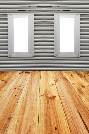 Aluminum windows and Flooring planks on Aluminum background.