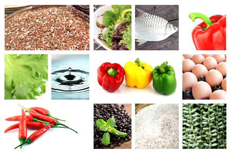 Healthy foods mix in the picture,For example Chili,Fish,Vegetables,Rice,Water.