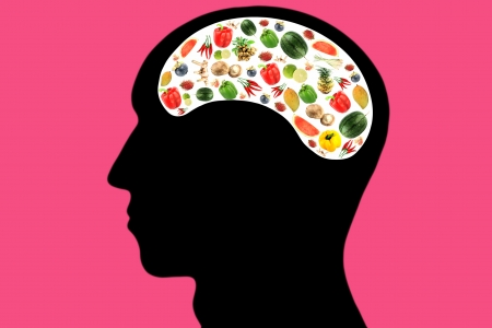 Vegetables and fruits in Head and white color Area,It reflects the care and love to eat good food