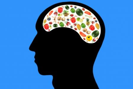 青果物頭と白い色の領域、それ反映するケアとおいしい料理を食べるが大好き。