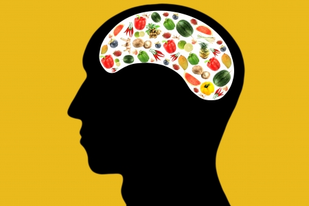 Vegetables and fruits in Head and white color Area,It reflects the care and love to eat good food.