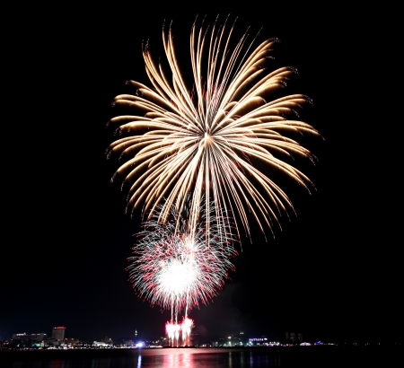 Variety of colors Fireworks or firecracker in the darkness at Pattaya,Thailand  photo