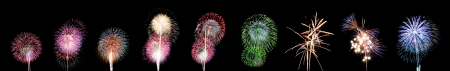 Nine style Variety of colors Fireworks or firecracker. photo