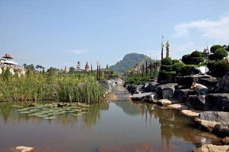 noteworthy: Thailand garden overlooking the front of pond. Stock Photo